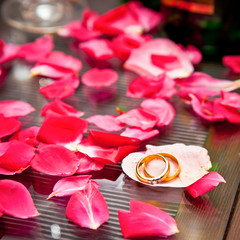 Wedding rings surrounded by rose petals