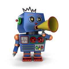 Toy robot shouting with bullhorn over white background