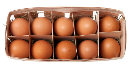 Brown eggs in eco-box