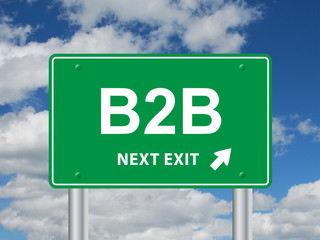 """B2B NEXT EXIT"" Sign (business customer services commercial b2c)"