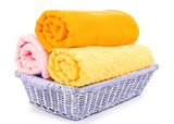 close-up basket of pure colorful towels