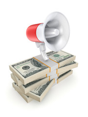 Megaphone on a stack of dollars.