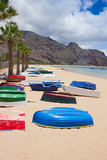 colorful fisher boats on beach