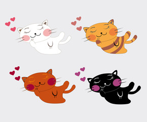 illustrated sleeping kittens
