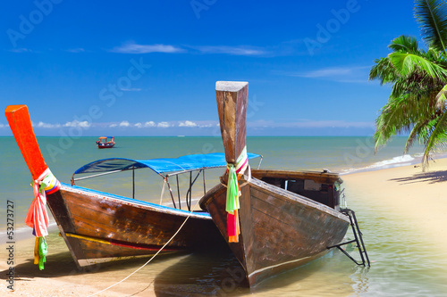 Long tail boats on the coast of Andaman sea in Thailand