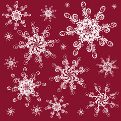snowflake on a red background