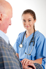 Smiling Nurse / Doctor With Patient