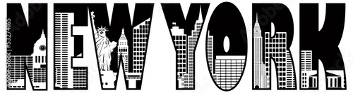 New York Text Skyline Outline Illustration - 53274165
