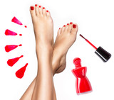 Fototapety Beautiful female legs with red pedicure and  nail polish