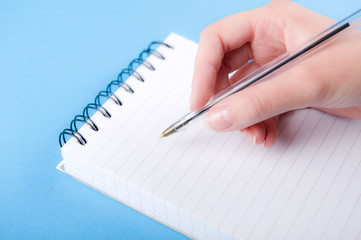 Female Hand With Pen & Note Pad