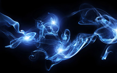 Blue smoke with lights