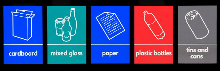 Various recycling signs