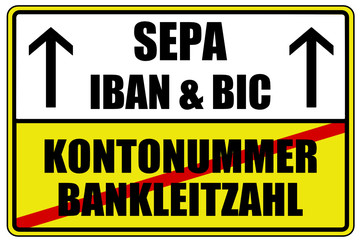 SEPA IBAN BIC Schild  #130613-svg02