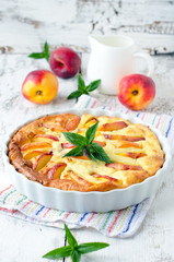 Cottage cheese baked pudding with a peach