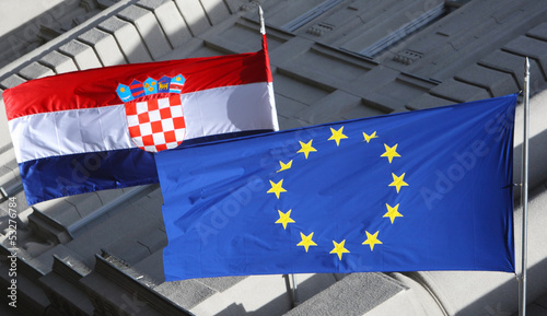 Detail of Croatian and Eu flags