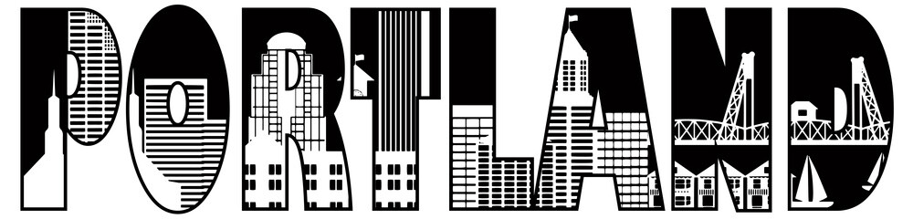 Portland City Skyline Text Outline Illustration
