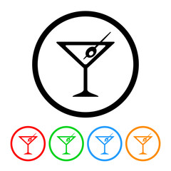 Martini Icon Vector with Four Color Variations