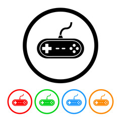 Video Game Icon Vector with Four Color Variations