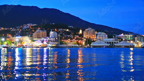 Night panorama of Yalta, Crimea, Ukraine