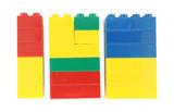 Lego blocks  on white background poster