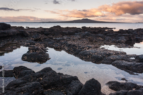 volcaic rock pools at sunset
