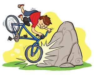 Hit A Rock. A boy cycling and then hit a rock.