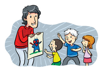Children Heroes. A man showing a hero image to children.