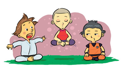 Children Meditation. A group of children learning meditation.