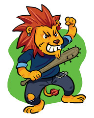 Mad Lion. Angry lion, bad lion with his bat.
