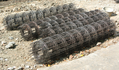 Steel rebar component in a construction site