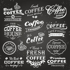 Collection of coffee shop sketches, labels and typography design