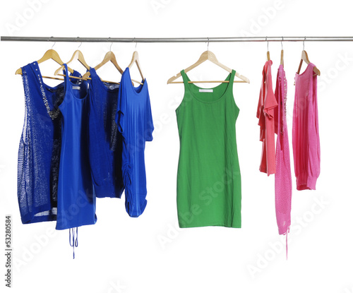 fashion colorful shirt clothing on hangers