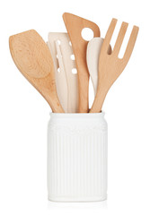 Kitchen utensils in holder