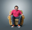 Emotional man listens to music on headphones. Sound concept