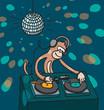 Monkey disc jockey playing music