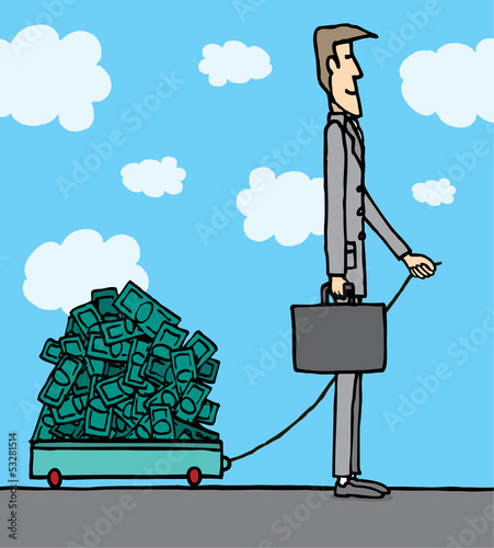 Businessman carrying money