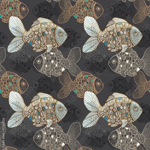 Seamless background with fish - 53281526