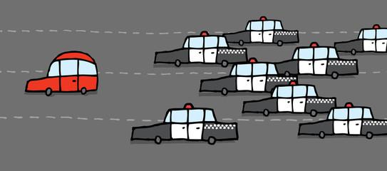 Car patrol chasing red car