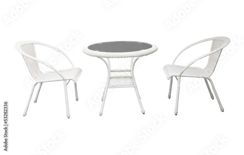 group of garden white  garden  desk and chairs isolated backgrou