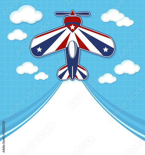 acrobatic airplane cartoon with blank contrail