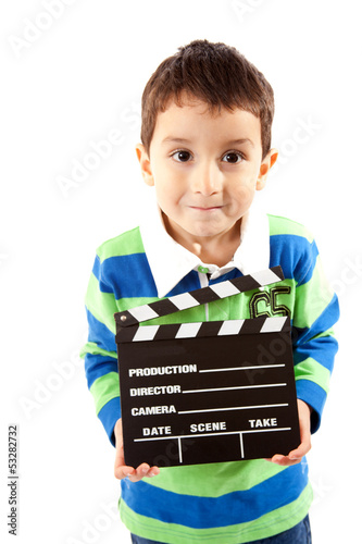 Small Boy Holding Film Clapperboard