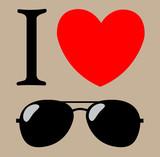 T-shirt design - print I love sunglasses. vector background