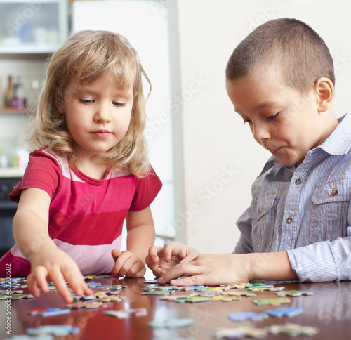Children, playing puzzles