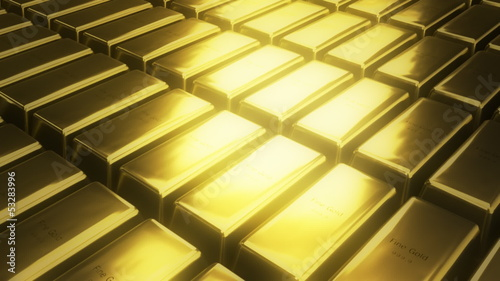 bars of gold in a secret room