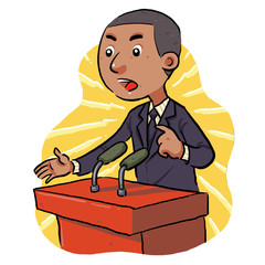 Politician speech in front of the audience. vector eps8.