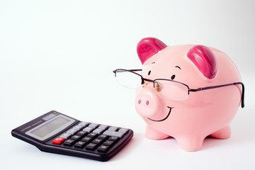 Pink Piggy Bank With Calculator.