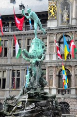"Statue ""Brabo"" in The centre of Antwerp"