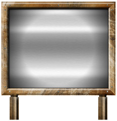 Grunge Metal Brown Billboard with Metal Background