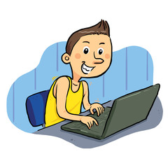 Laptop Geek. Boy browsing internet with laptop. vector eps8.