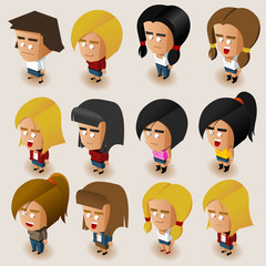 People Women Isometric Set